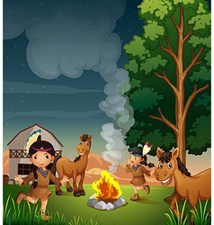 A farm with Indian girls vector