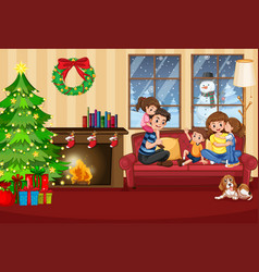 a happy family in house on christmas vector image