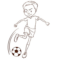 A plain sketch of a soccer player vector image