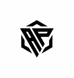 Ap logo monogram with triangle and hexagon modern vector