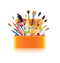 art supplies box isolated vector image