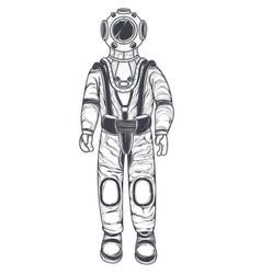 Astronaut cosmonaut in a space suit and helmet vector