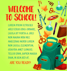 back to school welcoming poster education design vector image