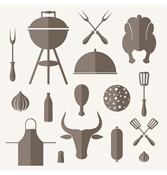 Barbecue grill icon set vector