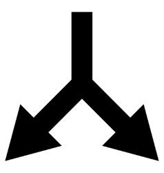 Bifurcation Arrow Down Flat Icon vector