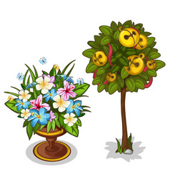 Bouquet with butterflies and tree with bells vector