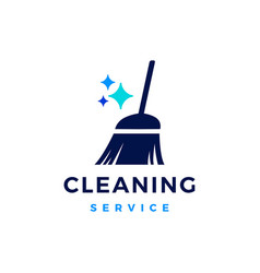 Broom sparkle cleaning service logo icon vector