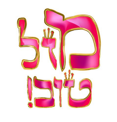 Calligraphic pink inscription in hebrew mazl tov vector