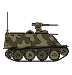 Camouflaged armored tracked vehicle vector