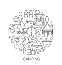 camping in circle - concept line vector image