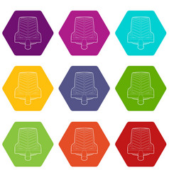 car wheel clamp icons set 9 vector image