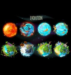 Cartoon planet evolution game design set vector