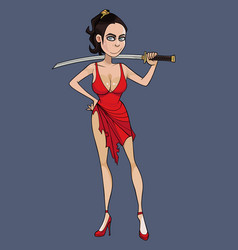 cartoon woman in red dress holding sword behind vector image