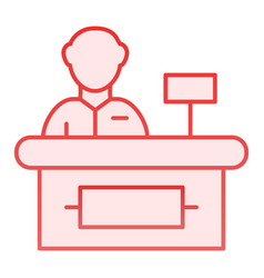 Cashier flat icon supermarket cashier pink icons vector
