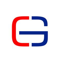 cg initials cut half lettermark graphic design vector image