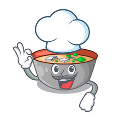 chef asian soup cup isolated on mascot vector image