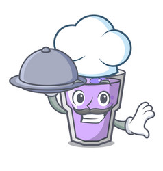 chef with food berry smoothie mascot cartoon vector image
