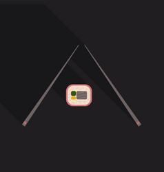 Chopsticks holding sushi roll concept of snack vector