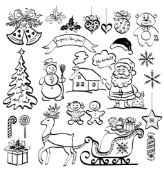 Christmas elements black silhouettes vector image