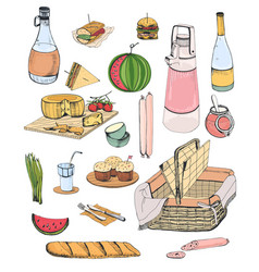 collection of picnic food or content of wicker vector image