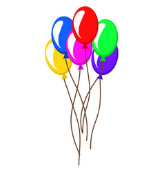 colorful balloons air party icon vector image