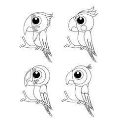 colorless set of different cartoon parrots exotic vector image
