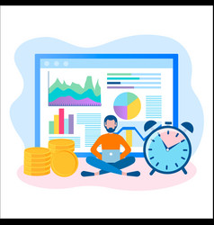 concept of online business time management vector image