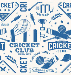 cricket club seamless pattern or background vector image