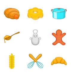 Croissant icons set cartoon style vector