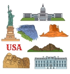 Culture history nature travel sights of USA icon vector