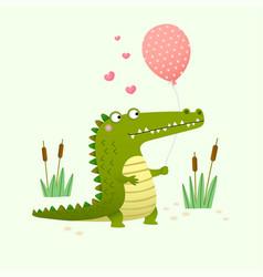 cute crocodile holding a balloon vector image