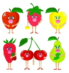 Cute lady fruits vector image