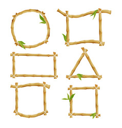 Different decorative frames from bamboo vector