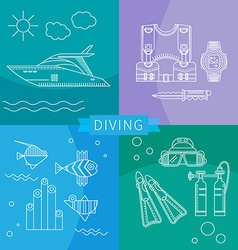 Diving Set of linear icons vector