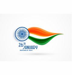 Elegant indian republic day wavy flag poster vector