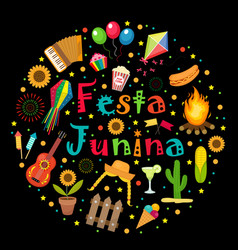 festa junina set of icons in a round shape vector image