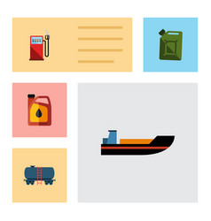 Flat icon oil set of petrol container boat and vector