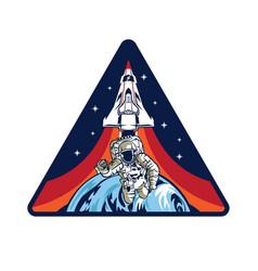 Flight patch badge logo design vector
