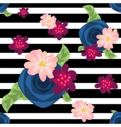 flower pattern on striped black and white vector image