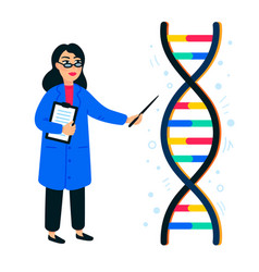 Genome sequencing concept female scientist and vector
