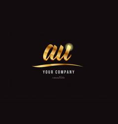 Gold alphabet letter au a u logo combination icon vector