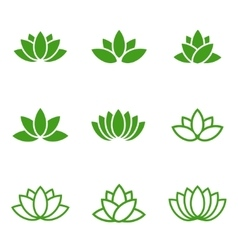 Green lotus icons set on white background vector
