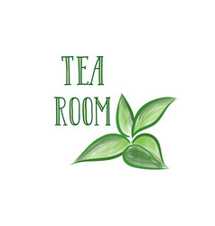 green tea tree branch herb label lettering tea vector image