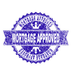 Grunge textured mortgage approved stamp seal with vector