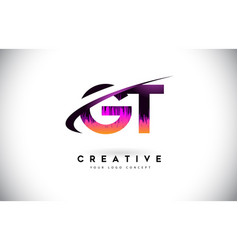 Gt g t grunge letter logo with purple vibrant vector