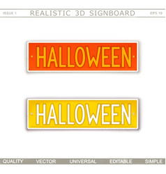 Halloween stylized car license plate vector