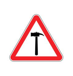 hammer warning sign red repair hazard attention vector image