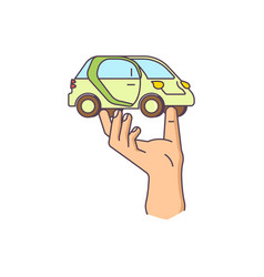 hand is holding the car vector image
