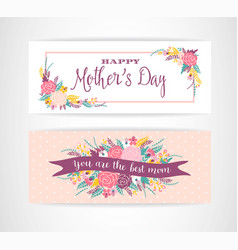 happy mothers day lettering greeting banner with vector image