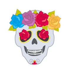 Human skull and flower wreath isolated cranium vector